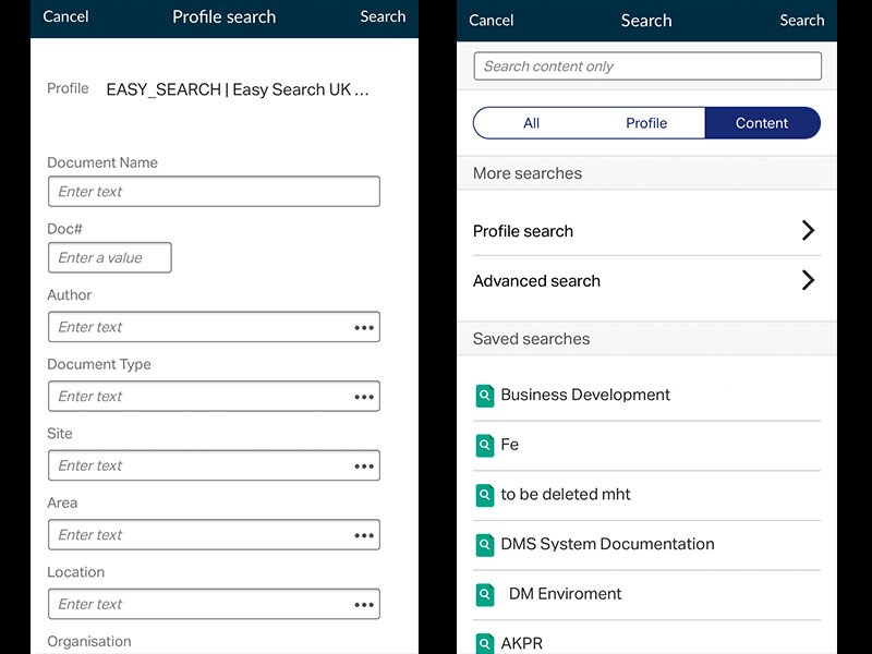 Profile search in eDOCS DM InfoCenter Mobile